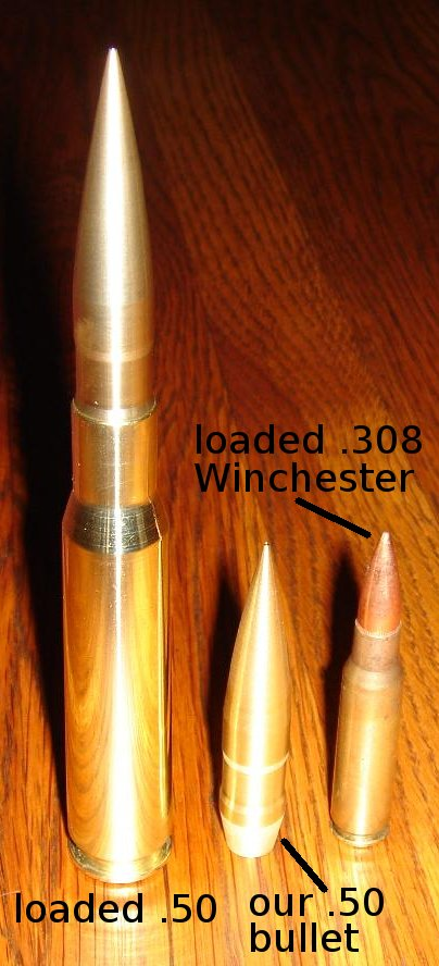.50 bullet standing with a .50 round and a.308 Winchester cartridge